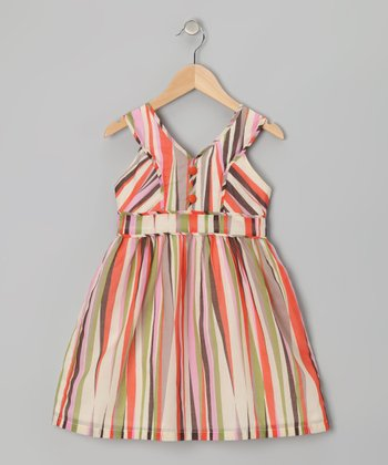 Orange & Lime Stripe Dress - Toddler & Girls