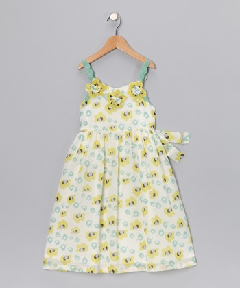White & Yellow Leaf Floral Dress - Toddler & Girls