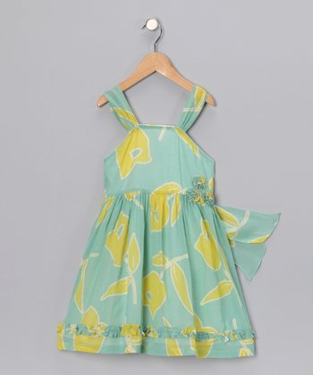 Yellow & Green Floral Sun Dress - Toddler & Girls