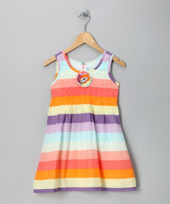 Pastel Stripe Rosette Dress - Girls