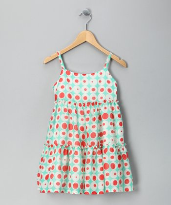 Turquoise Polka Dot Tiered Dress - Toddler & Girls