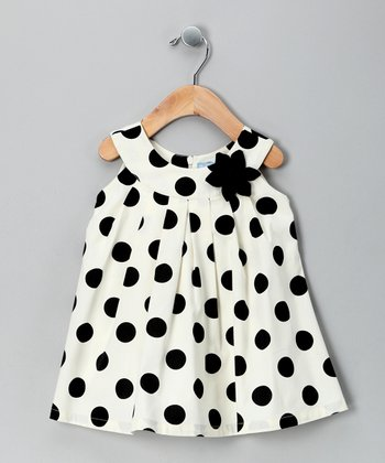 Cream Polka Dot Yoke Dress - Infant