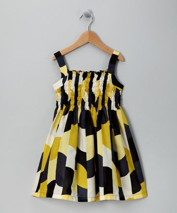 Navy & Yellow Abstract Dress - Toddler & Girls