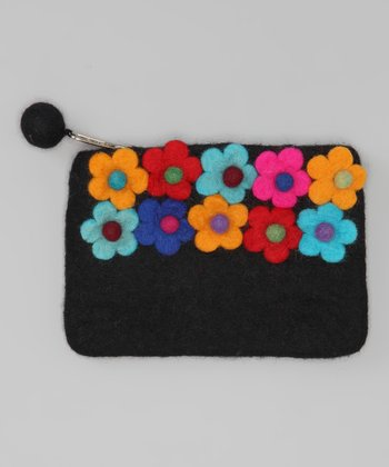 Windhorse Black Flower Garden Felt Purse