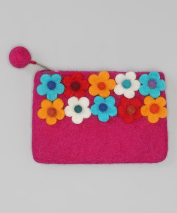 Windhorse Pink Flower Garden Felt Purse