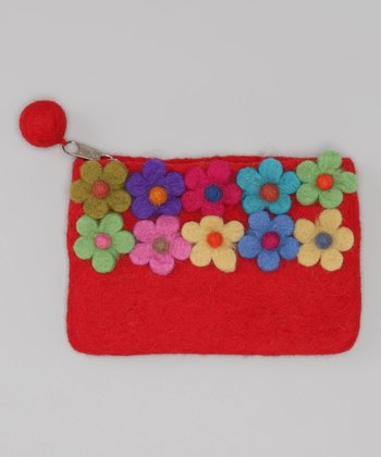 Windhorse Red Flower Garden Felt Purse