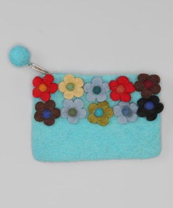 Windhorse Turquoise Flower Garden Felt Purse
