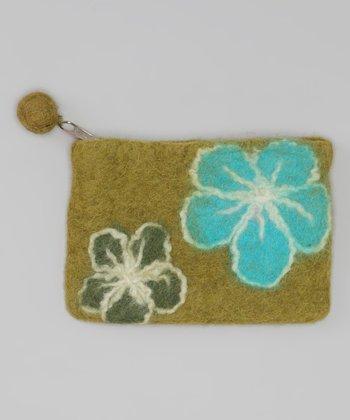 Windhorse Lime Green Felt Purse