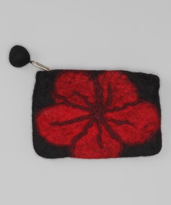 Windhorse Black Flower Felt Purse