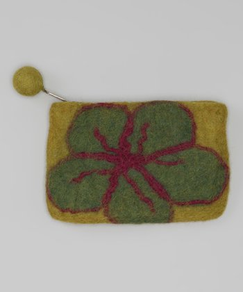 Windhorse Green Flower Felt Purse