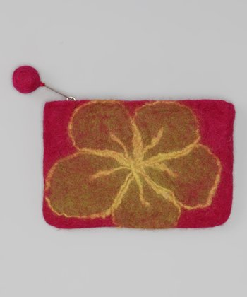 Windhorse Pink Flower Felt Purse