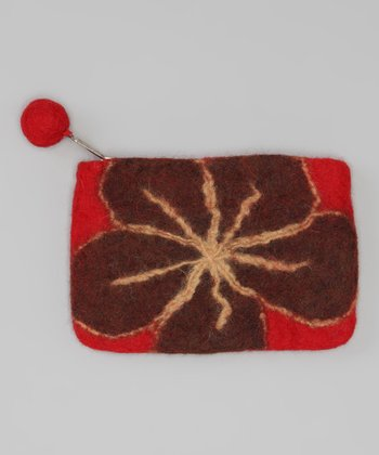 Windhorse Red Flower Felt Purse