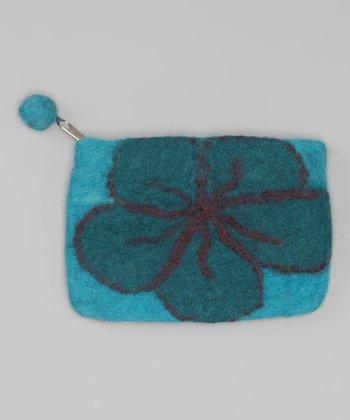 Windhorse Turquoise Flower Felt Purse