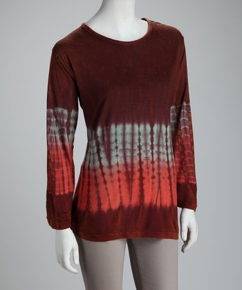 Dark Brown Tie-Dye Top - Women