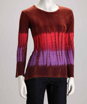 Maroon Tie-Dye Long-Sleeve Tee - Women