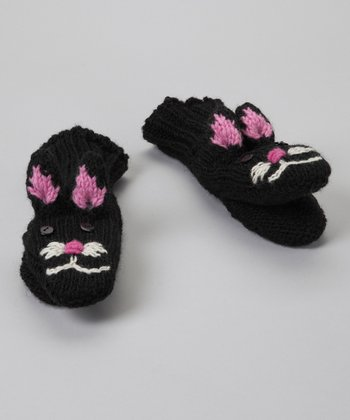 Black Button Cat Mittens