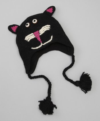 Black Button Cat Earflap Beanie