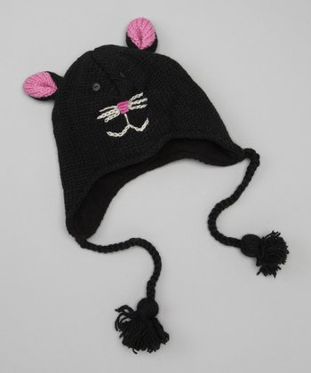 Black Kitty Earflap Beanie