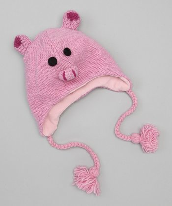 Light Pink Pig Earflap Beanie
