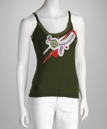 Green Embellished Camisole - Women