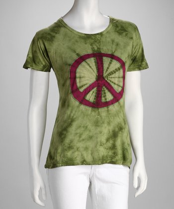Green Embroidered Peace Sign Tee