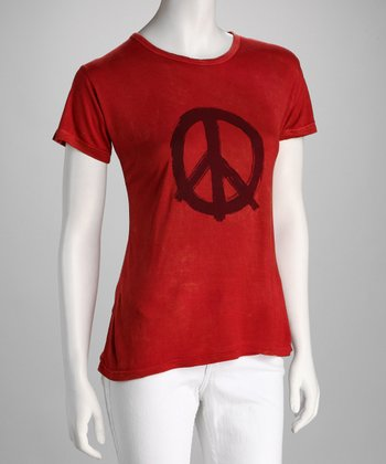 Red Stonewash Peace Sign Tee