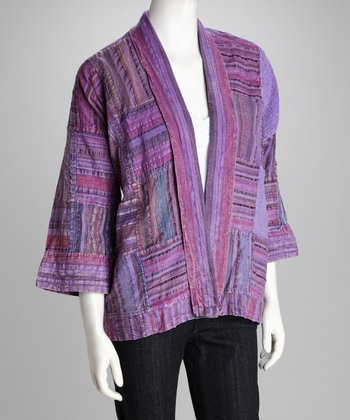 Purple Open Cardigan - Women