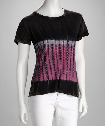 Black & Pink Tie-Dye Short-Sleeve Tee - Women