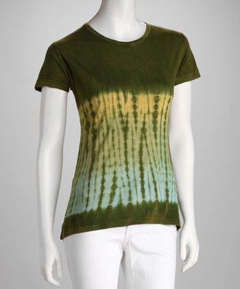 Green Tie-Dye Short-Sleeve Tee - Women