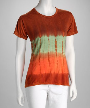 Orange Tie-Dye Short-Sleeve Tee - Women