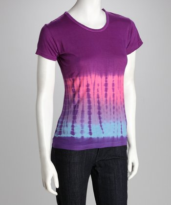 Purple Tie-Dye Short-Sleeve Tee - Women