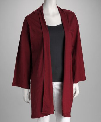 Wine Open Cardigan