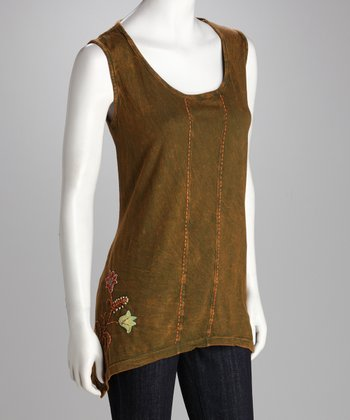 Green Sleeveless Sidetail Tunic