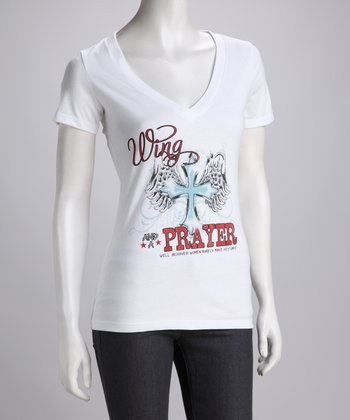 Wing & A Prayer White V-Neck Tee