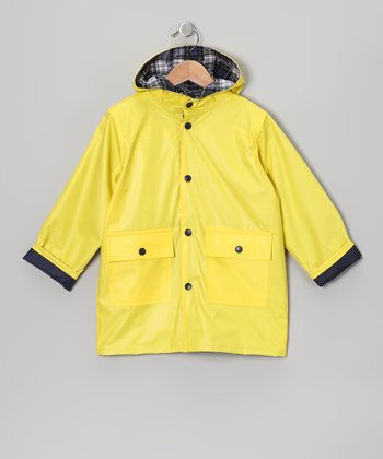 Neon Yellow Pocket Raincoat - Infant Toddler & Kids