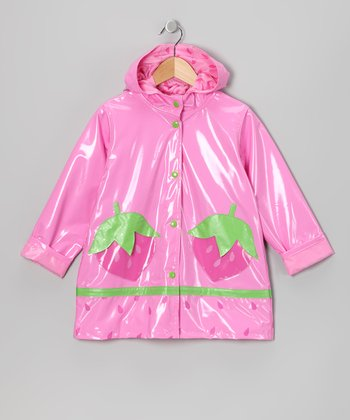 Pink Strawberry Raincoat - Infant, Toddler & Girls