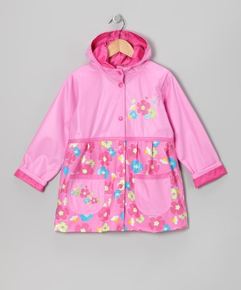 Pink Flower Pocket Raincoat - Infant, Toddler & Girls