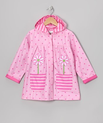Pink Polka Dot Pocket Raincoat - Infant, Toddler & Girls