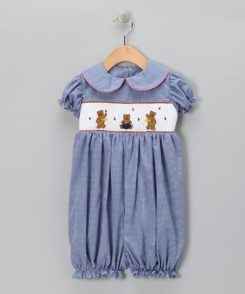 Navy Gingham Bear Smocked Romper - Infant