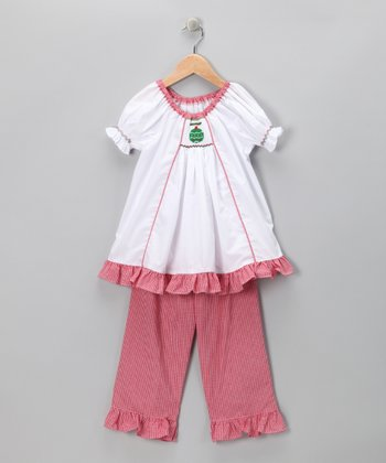 White & Pink Ornament Top & Pants - Infant, Toddler & Girls