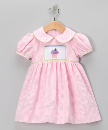 Pink Seersucker Cupcake Dress - Infant