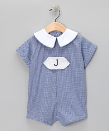 Wish Upon a Star Navy Gingham Personalized Romper