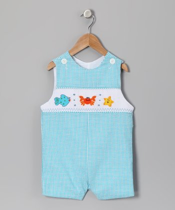 Blue Sea Animal Seersucker Smocked John Johns - Infant & Toddler