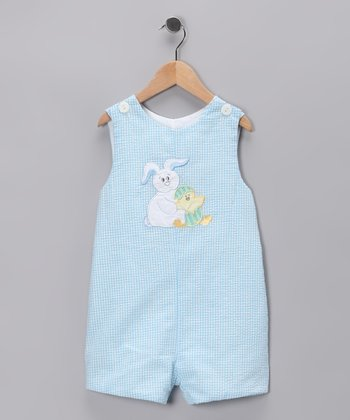 Light Blue Seersucker Easter Bunny Shortalls - Infant & Toddler