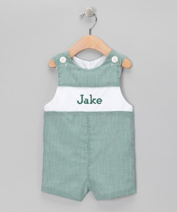Green Gingham Personalized John Johns - Infant, Toddler & Boys