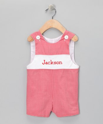 Red Gingham Personalized John Johns - Boys