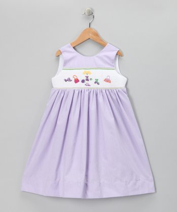 Wish Upon a Star Lavender Gingham Shopping Smocked Dress