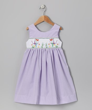 Lavender Mermaid Gingham Smocked Dress - Toddler & Girls