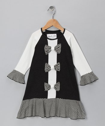 Black & White Stripe Bow Dress - Toddler & Girls