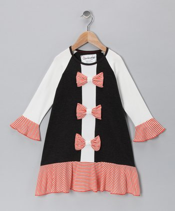 Orange Sorbet Stripe Bow Dress - Toddler & Girls